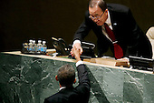 United States President Barack Obama shakes hands with United Nations Secretary General Ban Ki-moon after addressing the 70th annual United Nations General Assembly at the UN headquarters September 28, 2015 in New York City. Obama will hold bilateral meetings with Indian Prime Minister Narendra Modi and Russian President Vladimir Putin later in the day. <br /> Credit: Chip Somodevilla / Pool via CNP