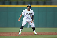 Eloy Jimenez (20) of the Charlotte Knights takes his lead off of second base against the Rochester Red Wings at BB&T BallPark on May 14, 2019 in Charlotte, North Carolina. The Knights defeated the Red Wings 13-7. (Brian Westerholt/Four Seam Images)