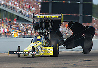 Aug. 18, 2013; Brainerd, MN, USA: NHRA top fuel dragster driver Morgan Lucas during the Lucas Oil Nationals at Brainerd International Raceway. Mandatory Credit: Mark J. Rebilas-