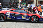 Bahrain-Merida team Mclaren car outside the team bus before Stage 1 of the 2019 Giro d'Italia, an individual time trial running 8km from Bologna to the Sanctuary of San Luca, Bologna, Italy. 11th May 2019.<br /> Picture: Eoin Clarke | Cyclefile<br /> <br /> All photos usage must carry mandatory copyright credit (© Cyclefile | Eoin Clarke)
