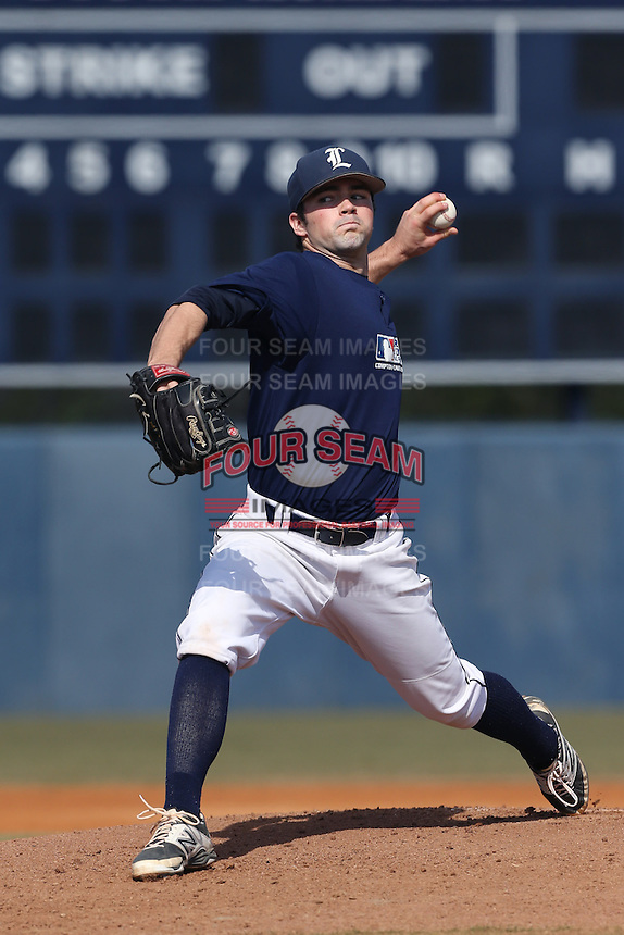 Quinn Brodey of Loyola High School in Los Angeles, California during the MLBS Southern California Invitational Workout at the Urban Youth Academy on February 14, 2014 in Compton, California. (Larry Goren/Four Seam Images)