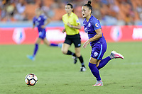 Houston, TX - Saturday June 17, 2017: Camila Martins Pereira races up the field with the ball during a regular season National Women's Soccer League (NWSL) match between the Houston Dash and the Orlando Pride at BBVA Compass Stadium.