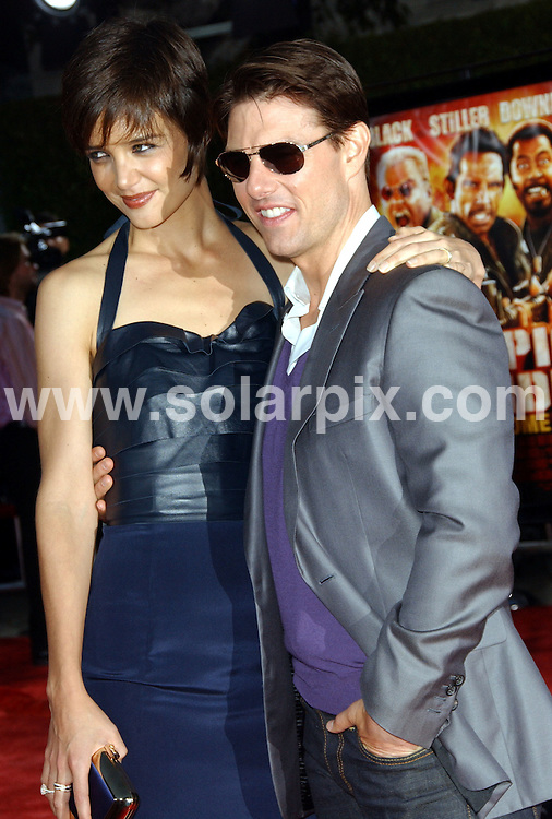 **ALL ROUND PICTURES FROM SOLARPIX.COM**.**SYNDICATION RIGHTS FOR UK, SPAIN, PORTUGAL, AUSTRALIA, S.AFRICA & DUBAI (U.A.E) ONLY**.arrivals for the Tropic Thunder Los Angeles Premiere at Mann's Village Theater, Westwood, CA. USA. 11th August 2008..This pic: Katie Holmes and Tom Cruise..JOB REF: 7003 PHZ/Ortega    DATE: 11_08_2008.**MUST CREDIT SOLARPIX.COM OR DOUBLE FEE WILL BE CHARGED* *UNDER NO CIRCUMSTANCES IS THIS IMAGE TO BE REPRODUCED FOR ANY ONLINE EDITION WITHOUT PRIOR PERMISSION*