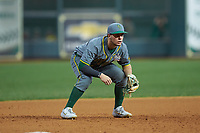 Baylor Bears third baseman Esteban Cardoza-Oquendo (52) on defense against the Arkansas Razorbacks in game nine of the 2020 Shriners Hospitals for Children College Classic at Minute Maid Park on March 1, 2020 in Houston, Texas. The Bears defeated the Razorbacks 3-2. (Brian Westerholt/Four Seam Images)