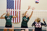 PERKASIE, PA - OCTOBER 23: Pennridge's Lauren<br /> Drugotch #25 and Victoria<br /> Jones #17 defend a shot by Upper Dublin's Taylor Stek #25 during a district one playoff volleyball game at Pennridge High School October 23, 2014 Perkasie, Pennsylvania. (Photo by William Thomas Cain/Cain Images)