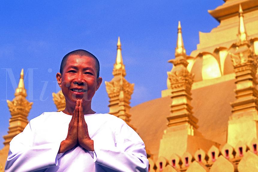 That Luang Gold Temple Buddhist Nun Vientiane, Laos