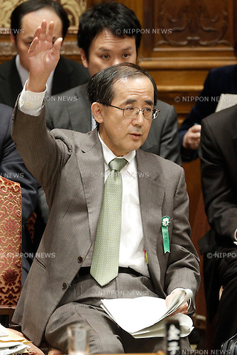 February 12, 2013, Tokyo, Japan - Gov. Masaaki Shirakawa of Bank of Japan takes a stand to answer questioned ask by an opposition lawmaker during a question-and-answer session of the Diet lower house Budget Committee in Tokyo on Tuesday, February 12, 2013. (Photo by AFLO)