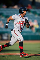Richmond Flying Squirrels right fielder Luigi Rodriguez (6) runs to first base during a game against the Altoona Curve on May 15, 2018 at Peoples Natural Gas Field in Altoona, Pennsylvania.  Altoona defeated Richmond 5-1.  (Mike Janes/Four Seam Images)