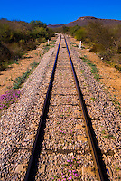 Train tracks of the Chihuahua al Pacifico Railroad (Chepe) near El Fuerte, Mexico