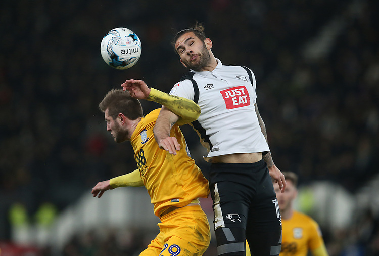 Derby County's Bradley Johnson and Preston North End's Tom Barkhuizen<br /> <br /> Photographer Stephen White/CameraSport<br /> <br /> The EFL Sky Bet Championship - Derby County v Preston North End - Tuesday 7th March 2016 - Pride Park - Derby<br /> <br /> World Copyright &copy; 2017 CameraSport. All rights reserved. 43 Linden Ave. Countesthorpe. Leicester. England. LE8 5PG - Tel: +44 (0) 116 277 4147 - admin@camerasport.com - www.camerasport.com
