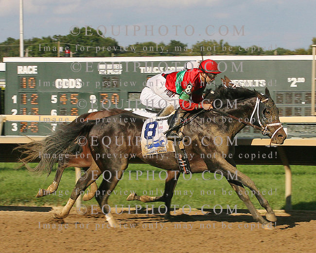 Protonico #8 with Joe Bravo riding won the $300,000 Smarty Jones Stakes at Parx Racing in Bensalem, Pennsylvania September 1, 2014 Photo by Bill Denver / EQUI-PHOTO