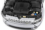 Car Stock 2014 Land Rover LR4 Base 5 Door SUV Engine high angle detail view