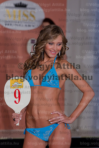 Edina Szommer participates the Miss Hungary beauty contest held in Budapest, Hungary on December 29, 2011. ATTILA VOLGYI