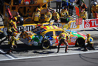 Mar. 1, 2009; Las Vegas, NV, USA; NASCAR Sprint Cup Series driver Kyle Busch pits during the Shelby 427 at Las Vegas Motor Speedway. Mandatory Credit: Mark J. Rebilas-