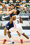 Spain's basketball player Alex Abrines and Angola's basketball player Gerson Goncalves during the first match of the preparation for the Rio Olympic Game at Coliseum Burgos. July 12, 2016. (ALTERPHOTOS/BorjaB.Hojas)