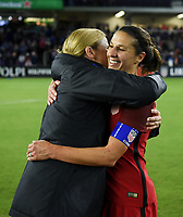 Orlando City, FL - Wednesday March 07, 2018: Jill Ellis, Carli Loyd during a 2018 SheBelieves Cup match between the women's national teams of the United States (USA) and England (ENG) at Orlando City Stadium.