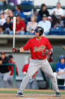 Jake Lamb #24 of the Visalia Rawhide bats against the Rancho Cucamonga Quakes at LoanMart Field on May 25, 2013 in Rancho Cucamonga, California. Rancho Cucamonga defeated Visalia, 11-1. (Larry Goren/Four Seam Images)