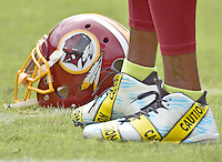 Close-up of the shoes Washington Redskins wide receiver DeSean Jackson (11) is wearing during warm-ups prior to the game against the Cleveland Browns at FedEx Field in Landover, Maryland on October 2, 2016.  Earlier in the day, the Redskins released the a statement about Jackson's shoes.  Jackson is quoted as saying &ldquo;Today is the start of my attempts to be part of a solution and start dialogue about the senseless killings of both citizens and police. I have chosen to wear these cleats in pregame today to use my platform as a pro athlete to add to this discussion. This isn&rsquo;t meant to be any kind of protest against the good men and women in law enforcement in this country. I just want to express my concern in a peaceful and productive way about issues that are currently impacting our country.&rdquo;  The team added &ldquo;We stand in support of both DeSean and the law enforcement community. We have great respect for law enforcement and the sacrifices they make each and every day to protect and serve our communities. We continue to have open dialogue with our players about issues that are important to them and support their efforts to bring awareness to those issues when done in a responsible manner.&rdquo;<br /> Credit: Ron Sachs / CNP /MediaPunch ***EDITORIAL USE ONLY***