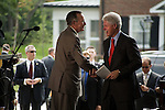Thursday, May 31, Charlotte, North Carolina. Dedication ceremony for the new Billy Graham Library in Charlotte, North Carolina.. George HW Bush and Bill Clinton exchange remarks before leaving the ceremony.