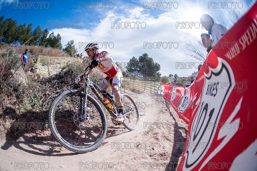 Chelva, SPAIN - MARCH 6: David Liano during Spanish Open BTT XCO on March 6, 2016 in Chelva, Spain