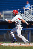 Auburn Doubledays left fielder Nick Banks (34) at bat during the first game of a doubleheader against the Batavia Muckdogs on September 4, 2016 at Dwyer Stadium in Batavia, New York.  Batavia defeated Auburn 1-0 in a continuation of a game started on August 13. (Mike Janes/Four Seam Images)