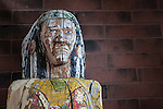 Painted, wooden cigar store Indians on display at the Humboldt County Museum, Winnemucca, Nev.