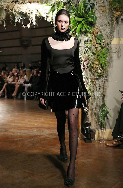 WWW.ACEPIXS.COM<br /> <br /> February 23 2015, London<br /> <br /> Kendall Jenner at the Giles Front Row show during London Fashion Week Autumn/Winter 2015 on February 23 2015 in London<br /> <br /> By Line: Famous/ACE Pictures<br /> <br /> <br /> ACE Pictures, Inc.<br /> tel: 646 769 0430<br /> Email: info@acepixs.com<br /> www.acepixs.com
