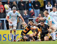 High Wycombe, England. Zak Taulafo of London Wasps clears the ball during the Aviva Premiership match between London Wasps and Worcester Warriors at Adam Park on October 7, 2012 in High Wycombe, England.