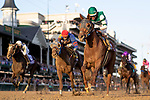 November 3, 2018: Accelerate #14, ridden by Joel Rosario, wins the Breeders' Cup Classic on Breeders' Cup World Championship Saturday at Churchill Downs on November 3, 2018 in Louisville, Kentucky. Alex Evers/Eclipse Sportswire/CSM