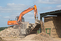 Stone crusher working on a farm in Lincolnshire <br /> &copy;Tim Scrivener Photographer 07850 303986<br /> ....Covering Agriculture In The UK....