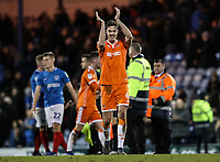 Blackpool's Ben Heneghan applauds his side's travelling supporters at the end of the match <br /> <br /> Photographer Andrew Kearns/CameraSport<br /> <br /> The EFL Sky Bet League One - Portsmouth v Blackpool - Saturday 12th January 2019 - Fratton Park - Portsmouth<br /> <br /> World Copyright © 2019 CameraSport. All rights reserved. 43 Linden Ave. Countesthorpe. Leicester. England. LE8 5PG - Tel: +44 (0) 116 277 4147 - admin@camerasport.com - www.camerasport.com