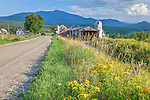 Farmland under Mount Mansfield in Cambridge, VT, USA