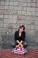 Diana Castañeda Paez, 21 years old, Portraits of Adolescents, glorieta de Insurgentes, in Mexico City.  Release #3