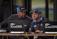 Black Caps coaches Craig McMillan and Mike Hesson during day one of the 2nd cricket test match between the New Zealand Black Caps and Pakistan at Seddon Park, Hamilton, New Zealand on Friday, 25 November 2016. Photo: Dave Lintott / lintottphoto.co.nz