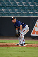 Mississippi Braves first baseman Ryan Casteel (26) during a Southern League game against the Jackson Generals on July 23, 2019 at The Ballpark at Jackson in Jackson, Tennessee.  Mississippi defeated Jackson 1-0 in the second game of a doubleheader.  (Mike Janes/Four Seam Images)