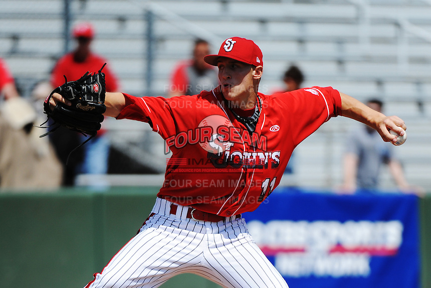 St. John's University Redstorm pitcher Ryan Horstman (11) during game against the University of Notre Dame Fighting Irish at Jack Kaiser Stadium on May 12, 2013 in Queens, New York. St. John's defeated Notre Dame 2-1.      . (Tomasso DeRosa/ Four Seam Images)
