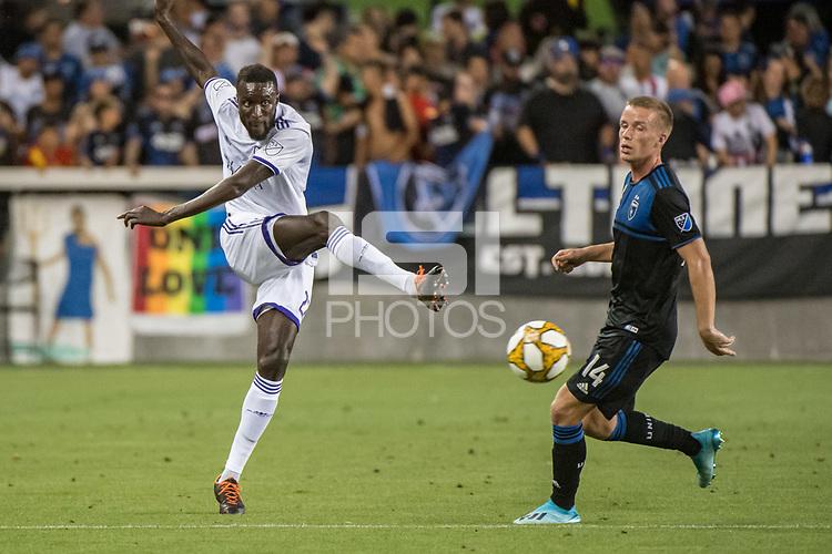 SAN JOSE,  - SEPTEMBER 1: Lamine Sané #22 of the Orlando City SC during a game between Orlando City SC and San Jose Earthquakes at Avaya Stadium on September 1, 2019 in San Jose, .