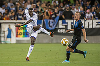 SAN JOSE,  - SEPTEMBER 1: Lamine Sané #22 of the Orlando City SC during a game between Orlando City SC and San Jose Earthquakes at Avaya Stadium on September 1, 2019 in San Jose, .