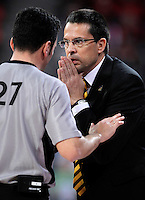 Herbalife Gran Canaria's coach Pedro Martinez have words with the referee during Spanish Basketball King's Cup match.February 07,2013. (ALTERPHOTOS/Acero)
