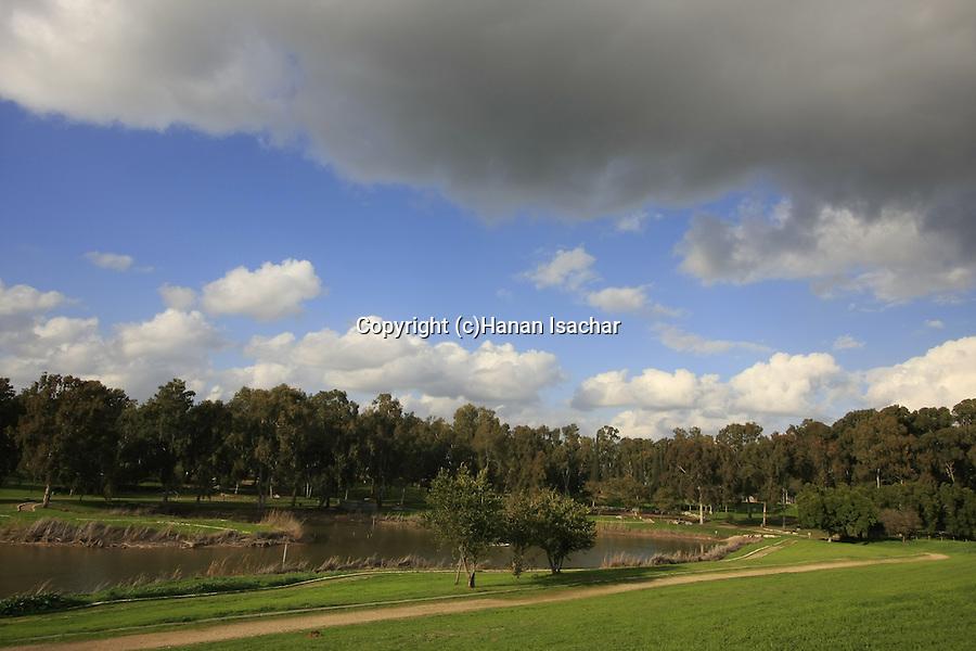 Israel, Sharon region. The source of Yarkon river in Tel Afek