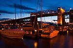 Granville marina next  to Burrard St bridge, Granville.Vancouver,British Colombia, Canada.