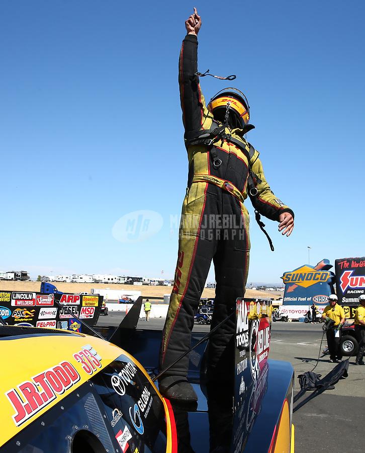 Jul 30, 2017; Sonoma, CA, USA; NHRA funny car driver J.R. Todd celebrates after winning the Sonoma Nationals at Sonoma Raceway. Mandatory Credit: Mark J. Rebilas-USA TODAY Sports