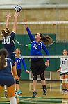 1 November 2015: Yeshiva University Maccabee Middle Blocker Gavriela Colton, a Junior from Teaneck, NJ, jumps to hit against the Saint Joseph College Bears at SUNY Old Westbury in Old Westbury, NY. The Bears shut out the Maccabees 3-0 in NCAA women's volleyball, Skyline Conference play. Mandatory Credit: Ed Wolfstein Photo *** RAW (NEF) Image File Available ***