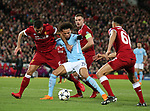 No way through for Leroy Sane of Manchester City as Dejan Lovren and Jordan Henderson of Liverpool close him down during the Champions League Quarter Final 1st Leg, match at Anfield Stadium, Liverpool. Picture date: 4th April 2018. Picture credit should read: Simon Bellis/Sportimage