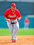 1 March 2009: St. Louis Cardinals' catcher Yadier Molina warms up prior to a Spring Training game against the Florida Marlins at Roger Dean Stadium in Jupiter, Florida. The Cardinals outhit the Marlins 20-13 resulting in a 14-10 win for the Cards. Mandatory Photo Credit: Ed Wolfstein Photo
