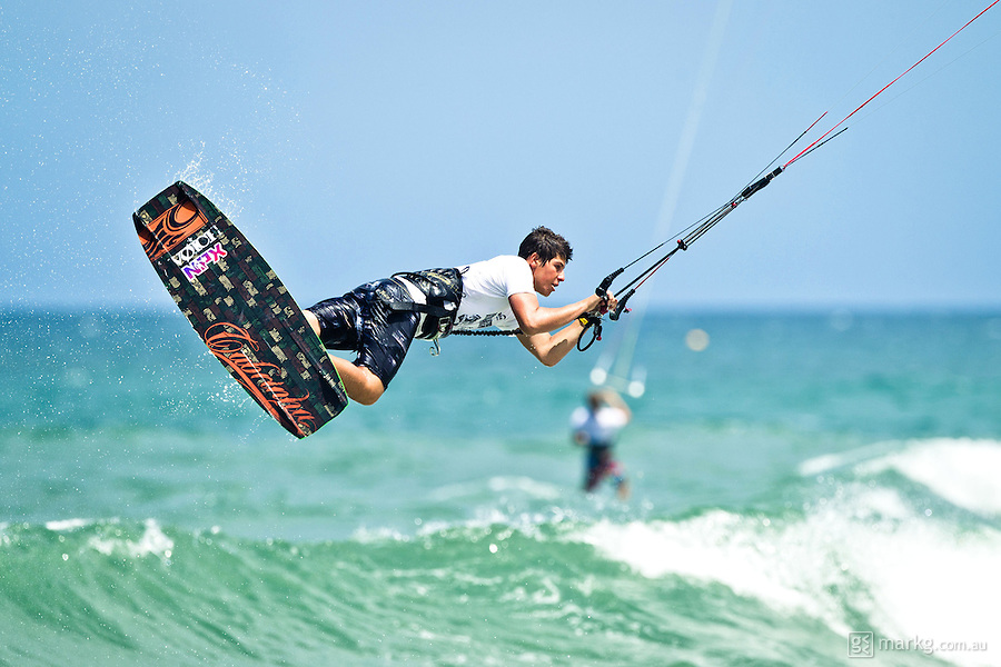 The last leg of the 2010 PKRA World Kiteboarding Tour has come to the Gold Coast, Australia - Keahi De Aboitiz in action in a round of the single elimination freestyle.