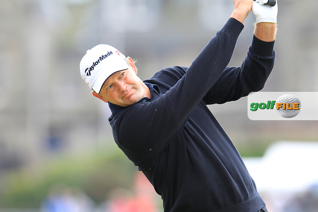Retief Goosen (RSA) on the 2nd during the final round on Monday of the 144th Open Championship, St Andrews Old Course, St Andrews, Fife, Scotland. 20/07/2015.<br /> Picture: Golffile | Fran Caffrey<br /> <br /> <br /> All photo usage must carry mandatory copyright credit (&copy; Golffile | Fran Caffrey)