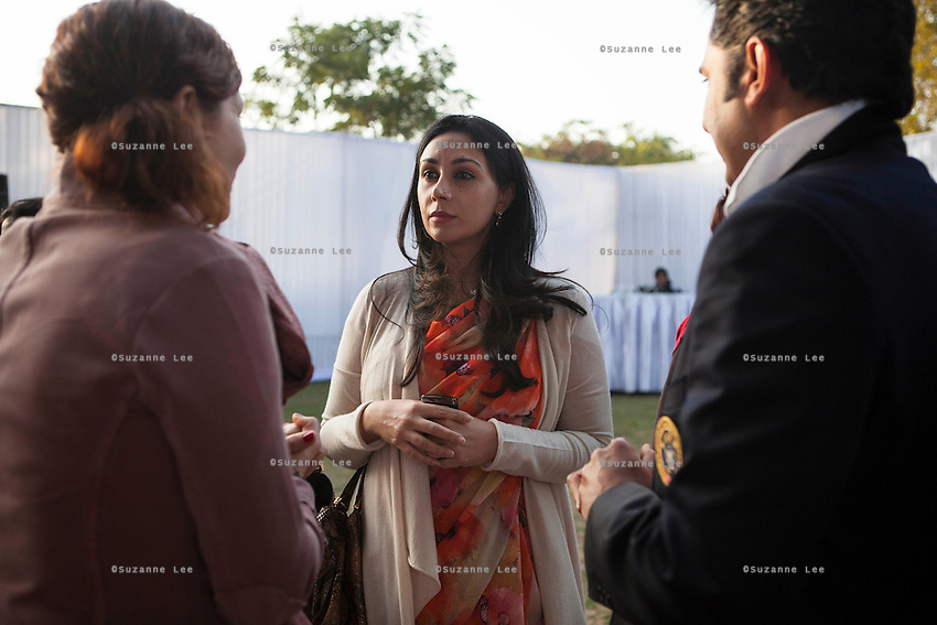 Princess Diya Kumari of Jaipur (center) and her husband Maharaj Narendra Singh (right) at the high tea event after the Argyle Pink Diamond Cup, organised as part of the 2013 Oz Fest in the Rajasthan Polo Club grounds in Jaipur, Rajasthan, India on 10th January 2013. Photo by Suzanne Lee