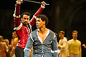 London, UK. 10.06.2014. Tamara Rojo and Carlos Acosta, from English National Ballet, in dress rehearsal for ROMEO AND JULIET, in the round, in the Royal Albert Hall. Picture shows: Carlos Acosta (Romeo) and Fabian Reimair (Tybalt). Photograph © jane Hobson.
