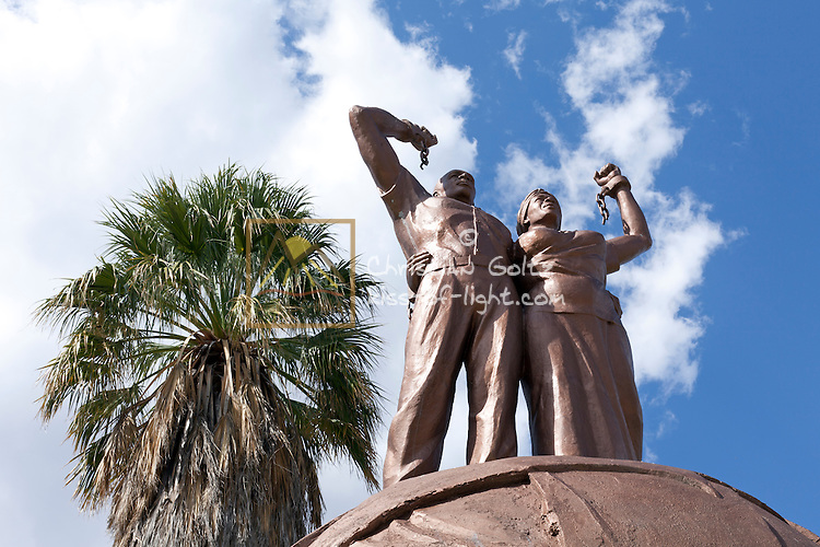 A statue in front of the Alte Feste (German colonial fortress) in Windhoek. This monument replaced the Reiterdenkmal (Equestrian Monument) from the German time of Namibia.